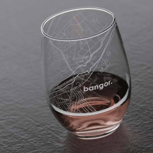 Bangor, Maine Stemless Wine Glass by Well Told