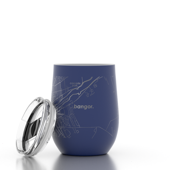 Bangor, Maine Insulated Wine Tumbler (Navy) by Well Told