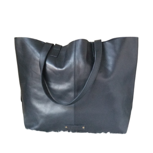 Black Leather Boho Tote by Le Papillon