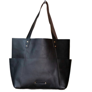Black Leather Side Pockets Tote by Le Papillon