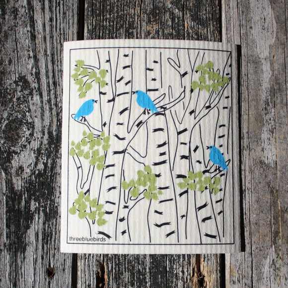 Birch with Blue Birds - Swedish Dish Cloths by Three Blue Birds