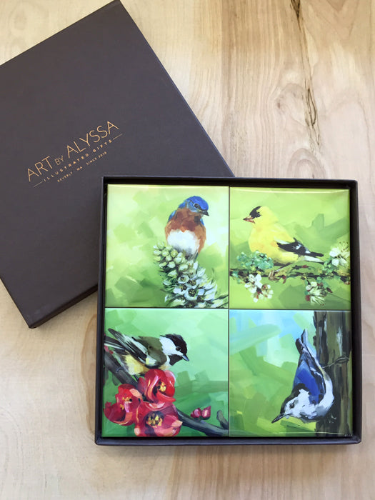 Birds & Blooms Coaster Set by Art by Alyssa