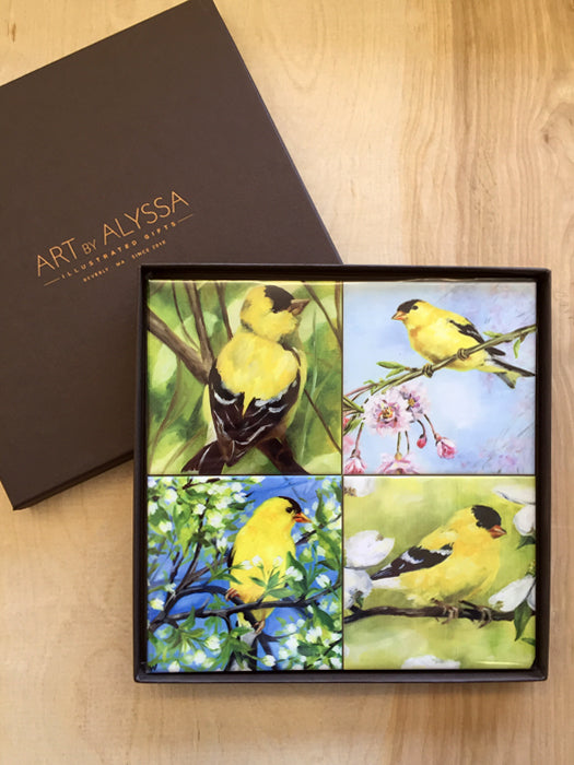 Goldfinch Coaster Set by Art by Alyssa