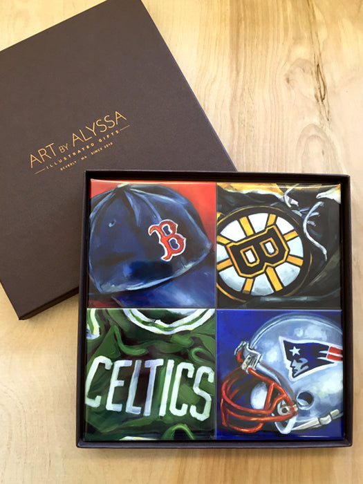 New England Sports Coaster Set by Art by Alyssa