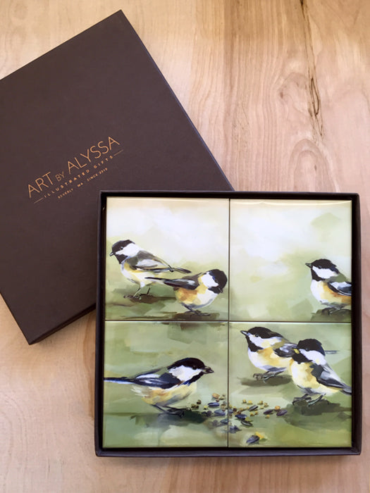 Chickadee Picnic Coaster Set by Art by Alyssa