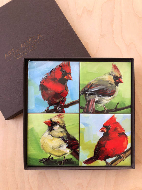 Summer Cardinals Coaster Set by Art by Alyssa