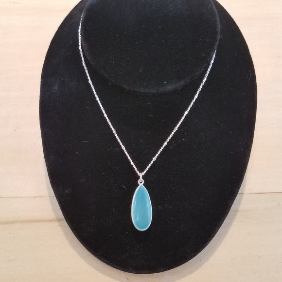 Chalcedony with Sterling Silver teardrop necklace by Sonoma Art Works