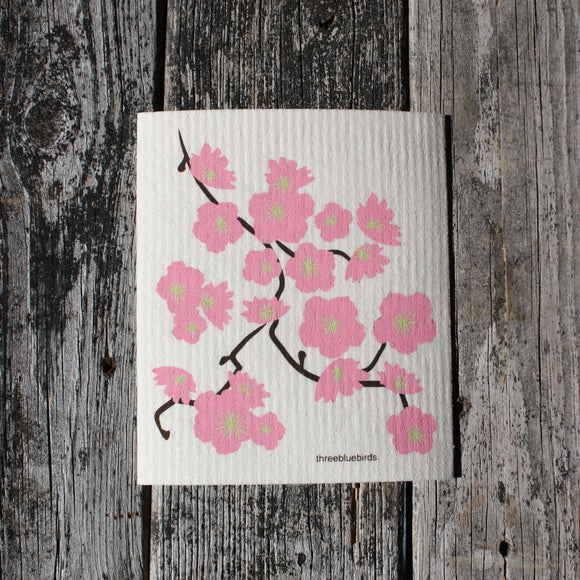 Cherry Blossoms - Swedish Dish Cloths by Three Blue Birds