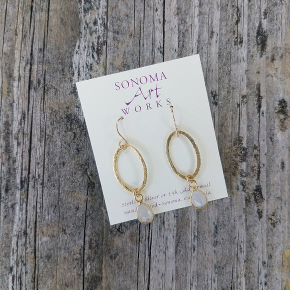 Gold Vermeil Oval with Rainbow Moonstone Earrings by Sonoma Art Works