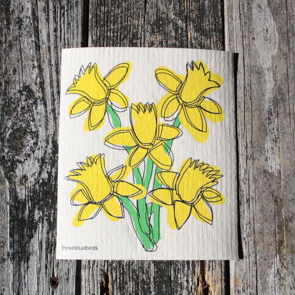 Daffodils - Swedish Dish Cloths by Three Blue Birds