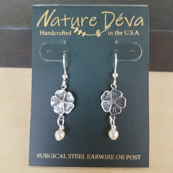 Flax Flower with pearl earrings by Nature Deva Jewelry