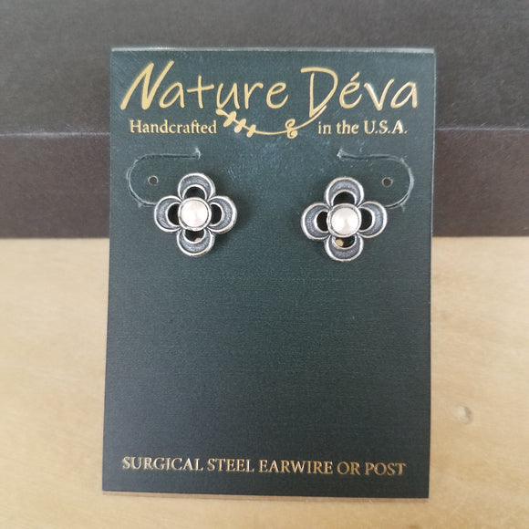 Four Leaf Clover post earrings by Nature Deva Jewelry
