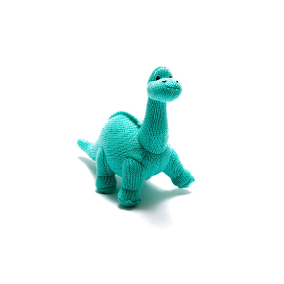 Ice Blue Diplodocus Dinosaur Baby Rattle from Best Years Ltd