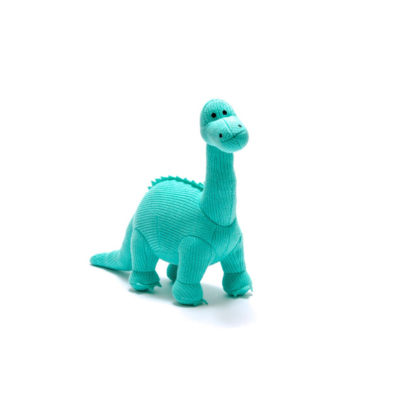 Knitted Ice Blue Diplodocus Dinosaur Soft Toy from Best Years Ltd