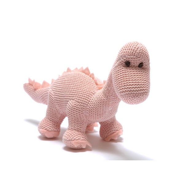 Knitted Organic Cotton Pink Diplodocus Dinosaur Baby Rattle from Best Years Ltd
