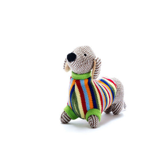 Knitted Sausage Dog Baby Rattle from Best Years Ltd