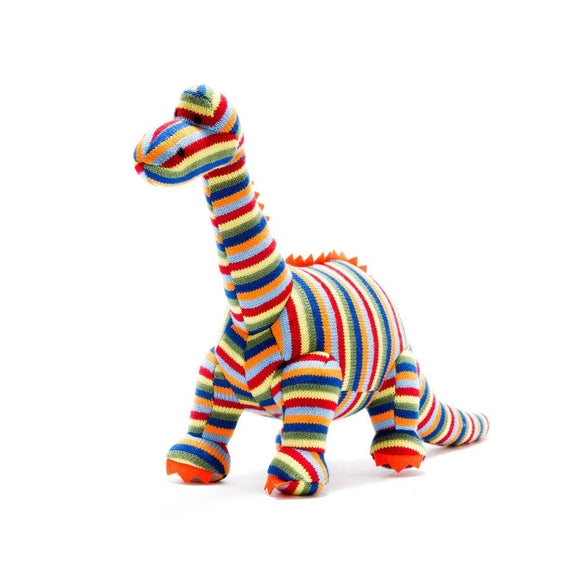 Knitted Stripe Diplodocus Dinosaur Soft Toy from Best Years Ltd