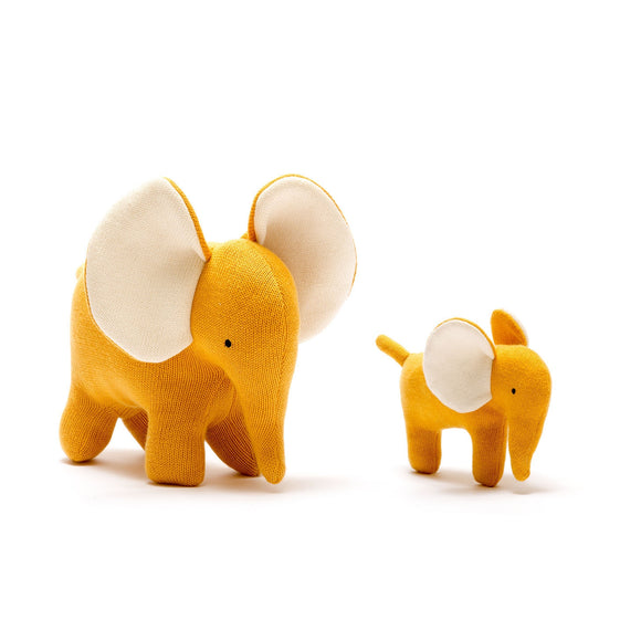 Large Organic Cotton Mustard Elephant Soft Toy from Best Years Ltd