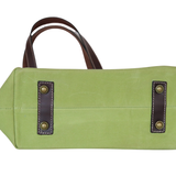 Lime Green Waxed Canvas & Leather Tote by Le Papillon