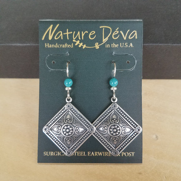 Medallion with bead earrings by Nature Deva Jewelry