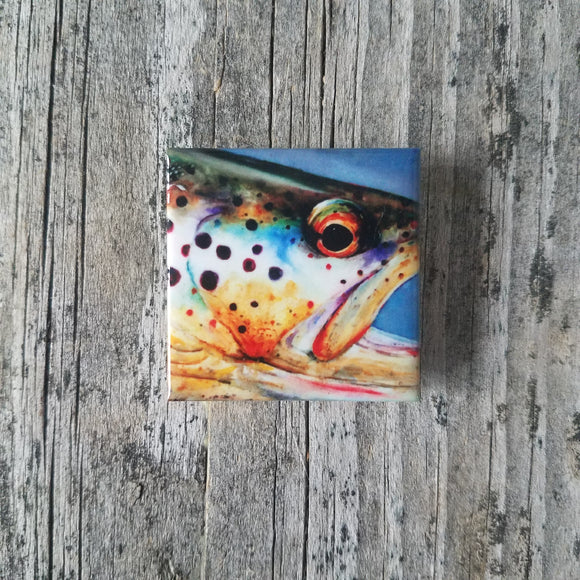 Rainbow Trout Tile Magnet by Dean Crouser
