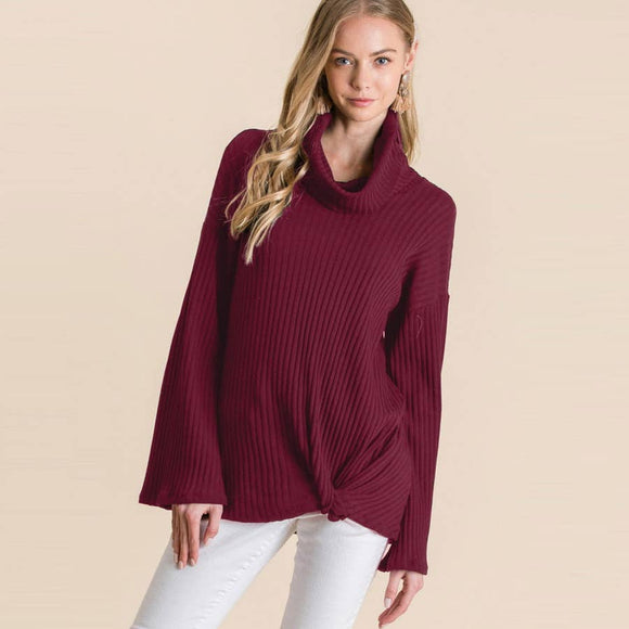 Ribbed Cowl Twist Front Top by Veveret