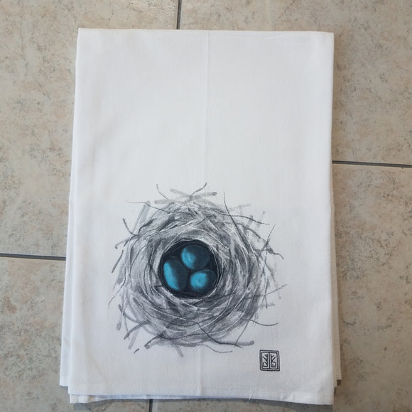 Robin's Nest Flour Sack Towel by Jennie Blue