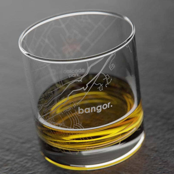 Bangor, Maine Rocks Whiskey Glass - Maine Yarn & Fiber Supply