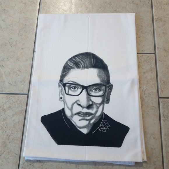 Ruth Bader Ginsburg Flour Sack Towel by Jennie Blue