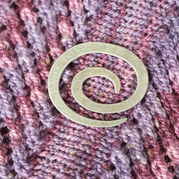 Silver Swirl Shawl Pin - Maine Yarn & Fiber Supply