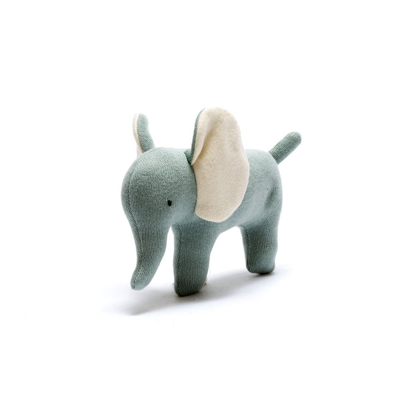 Small Organic Cotton Teal Elephant Soft Toy from Best Years Ltd