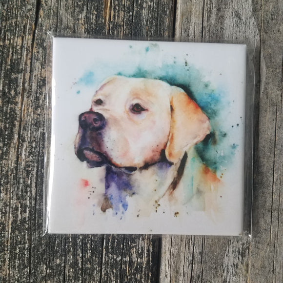 Yellow Lab Coaster by Dean Crouser