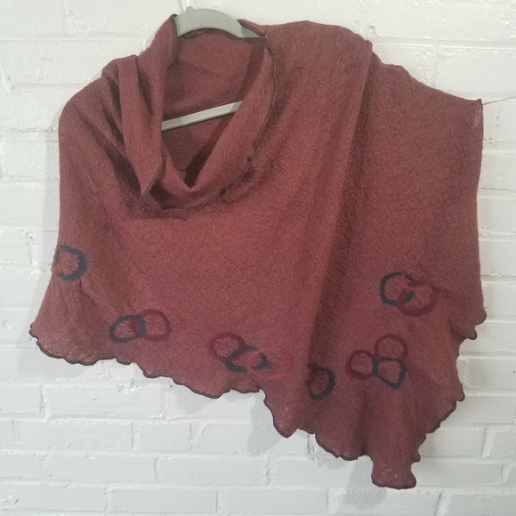 Fine Merino Asymmetrical Cape in Rust - Maine Yarn & Fiber Supply