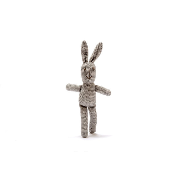 Small Knitted Grey Bunny Baby Rattle from Best Years Ltd