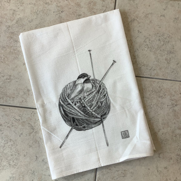 Chickadee's Yarn Nest Flour Sack Towel by Jennie Blue