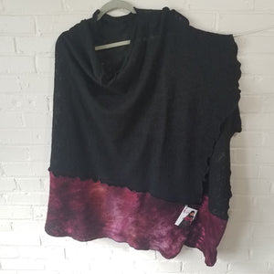 Fine Merino Asymmetrical Cape in Black with Crush - Maine Yarn & Fiber Supply