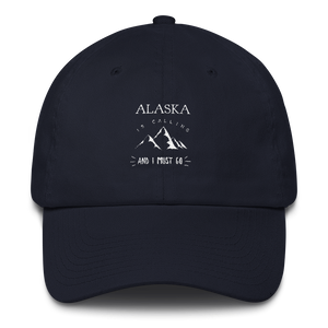 100% Cotton Cap - Alaska is Calling - White