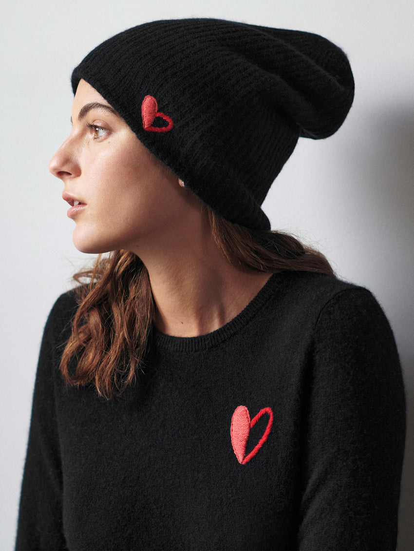 Go Red Cashmere Heart Plush Rib Beanie