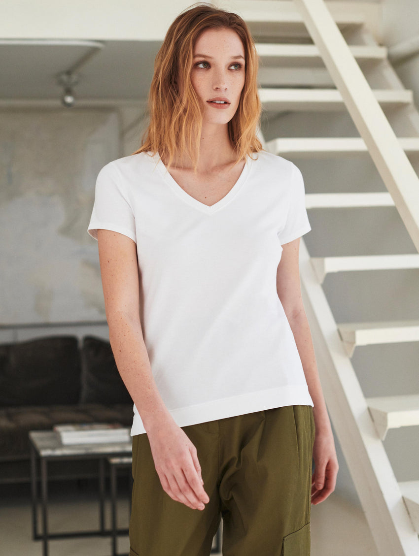 Cotton Modal V Neck Tee