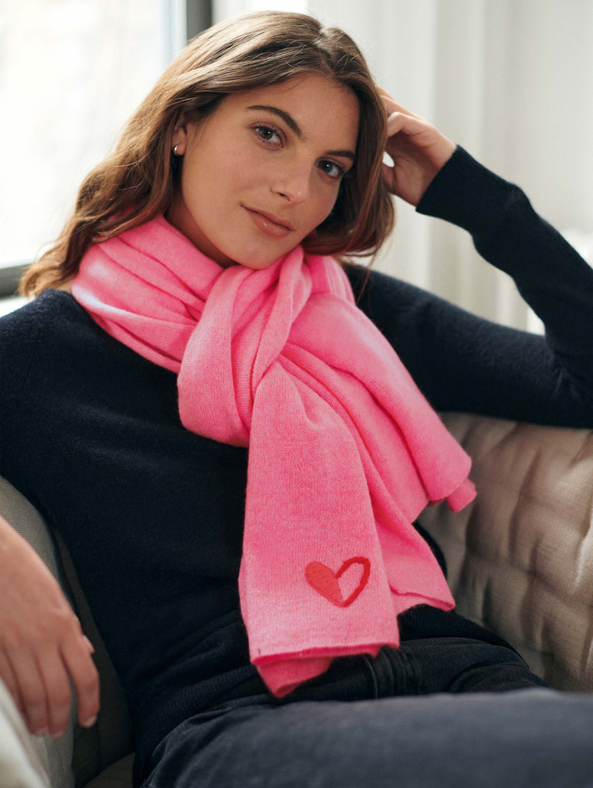 Go Red Cashmere Heart Mini Travel Wrap