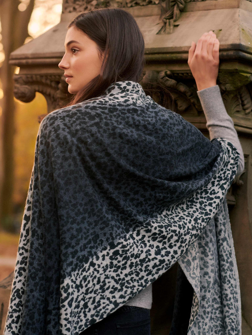 Cashmere Ombre Leopard Mini Travel Wrap
