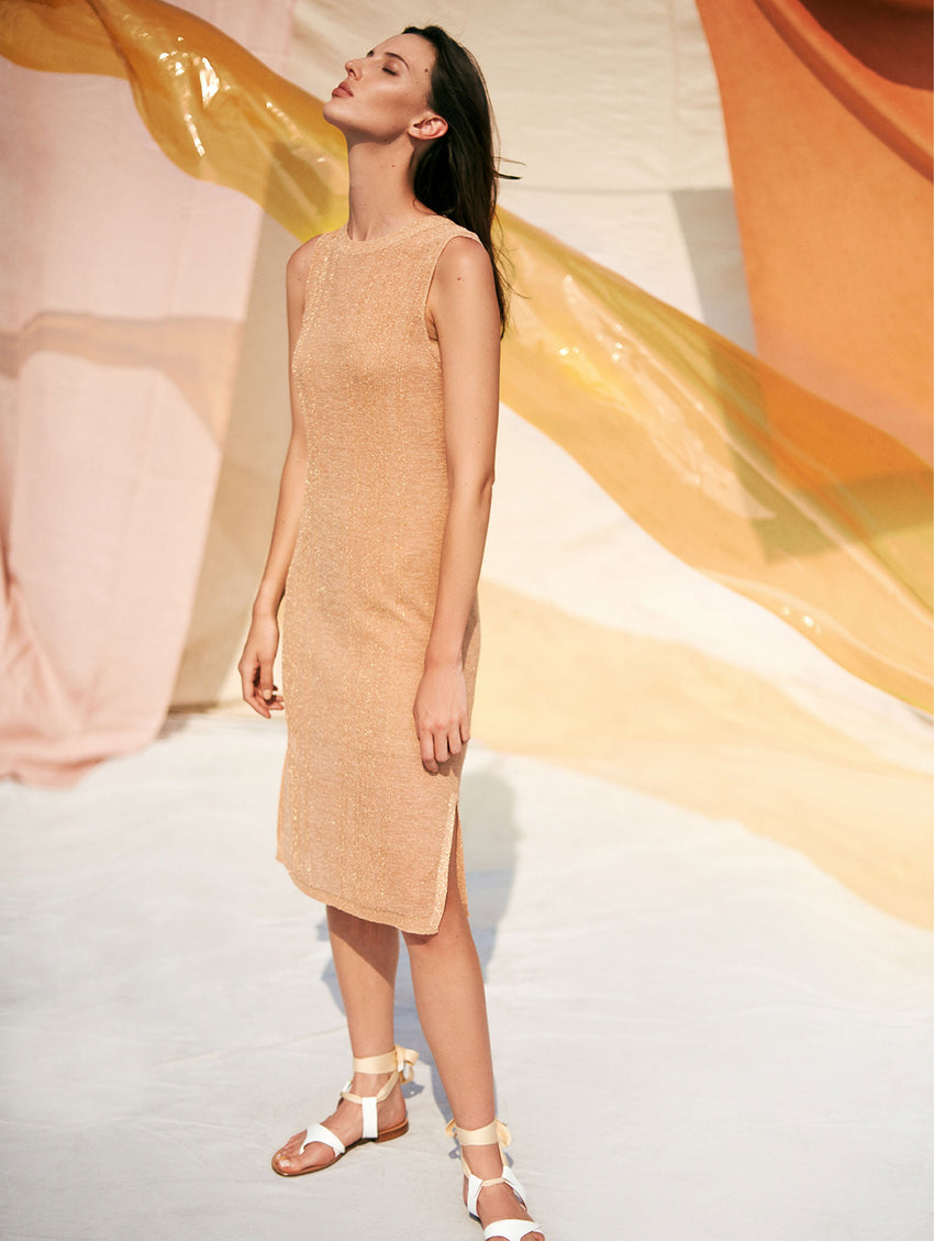 Italian Summer Shine Tank Dress - Golden Peach - Image 4