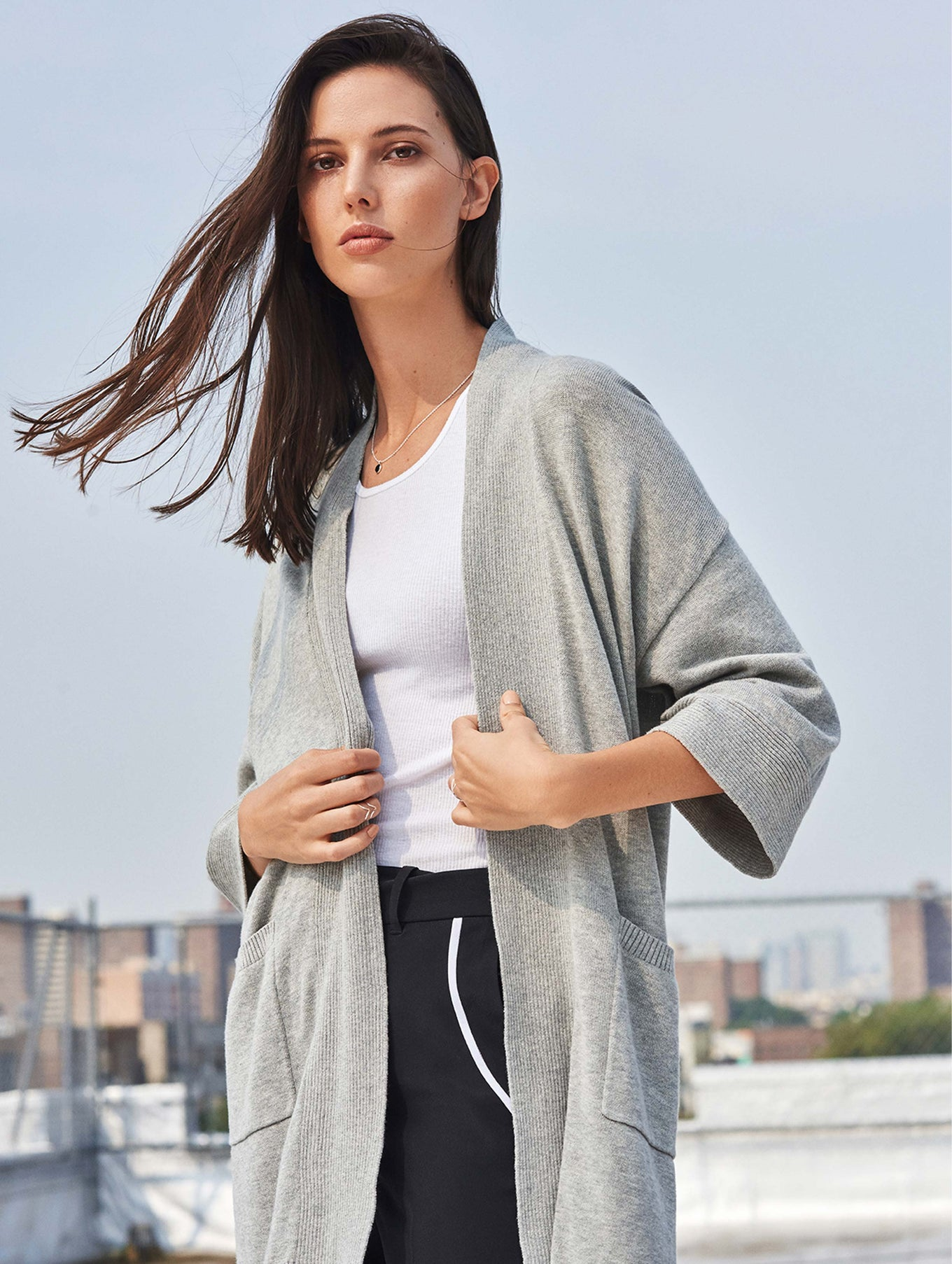 Organic Cotton Belted Rib Trim Cardigan - Grey Marble - Image 5