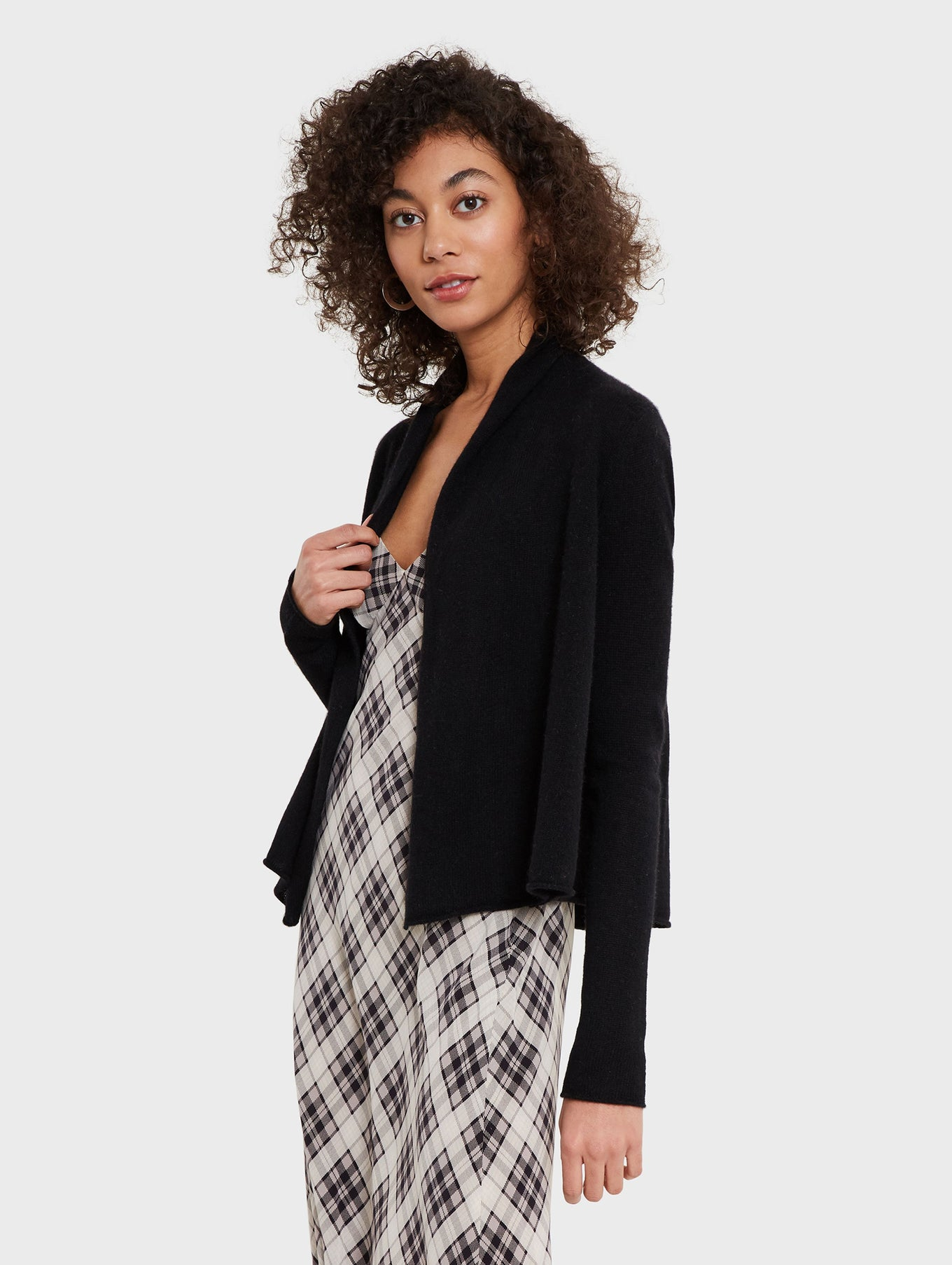 Cashmere Pleatback Open Cardigan