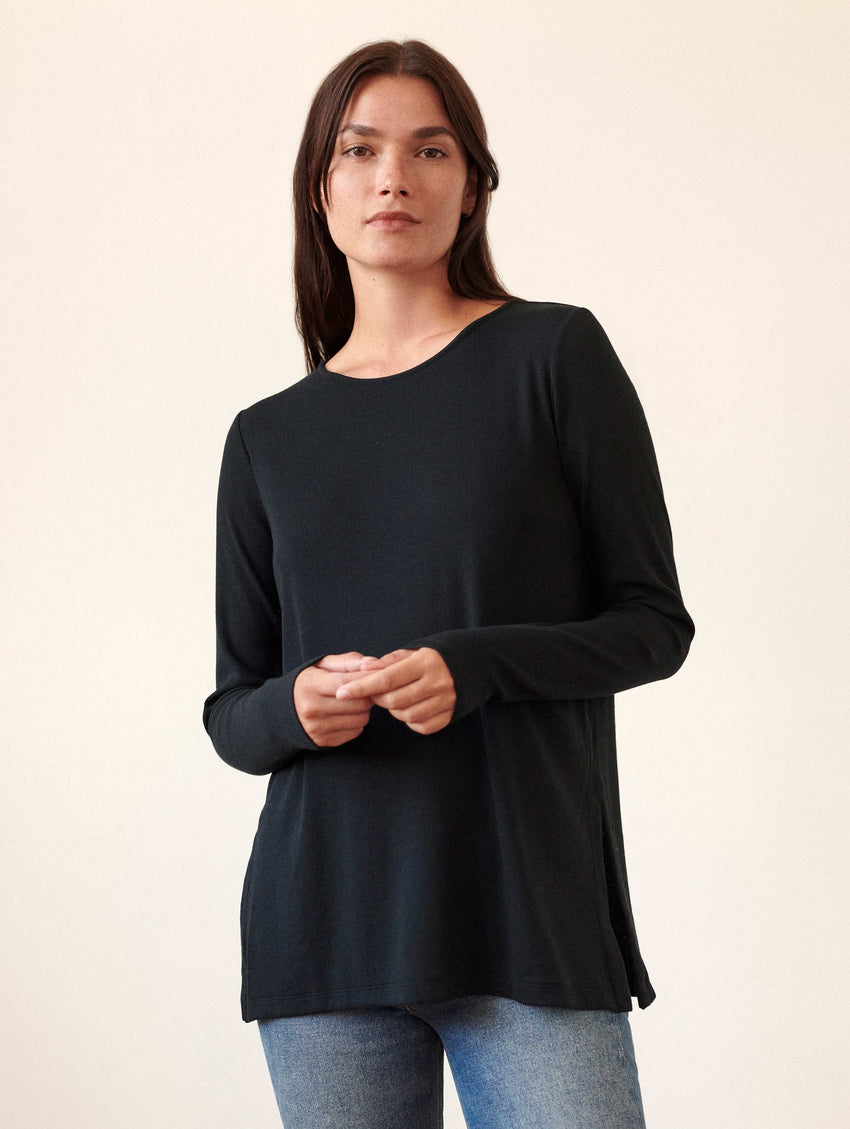 Rib Jersey Side Slit Tunic Tee