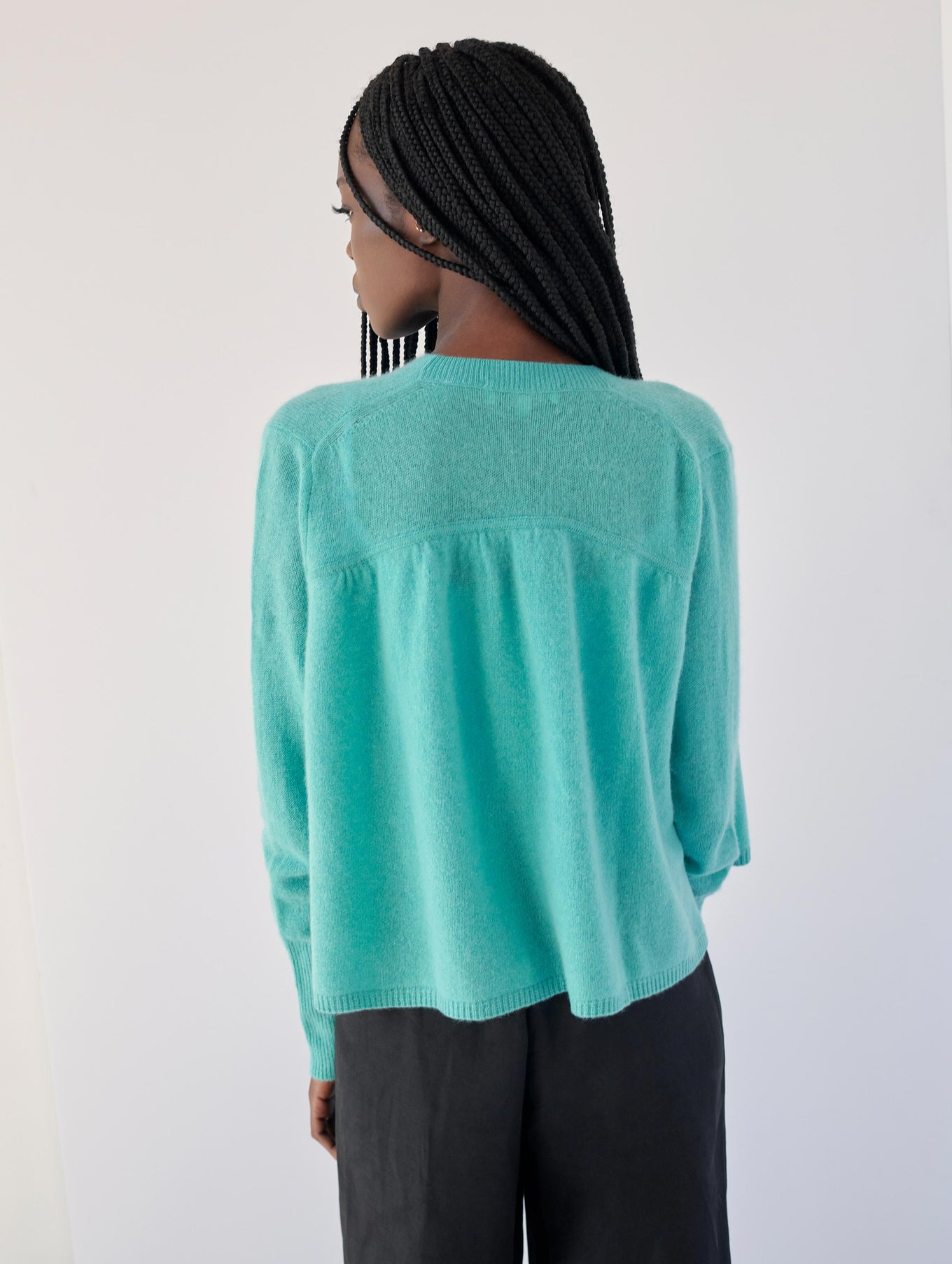 Cashmere Ruched Back Cardigan