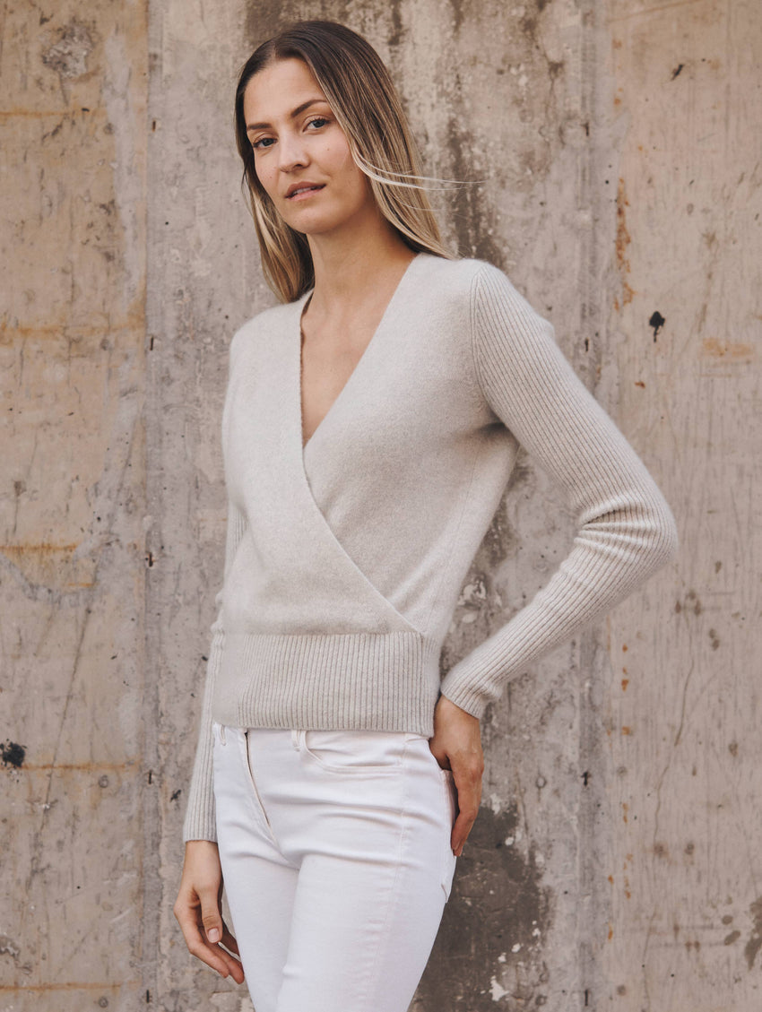 Cashmere Ribbed Sleeve Wrap Top