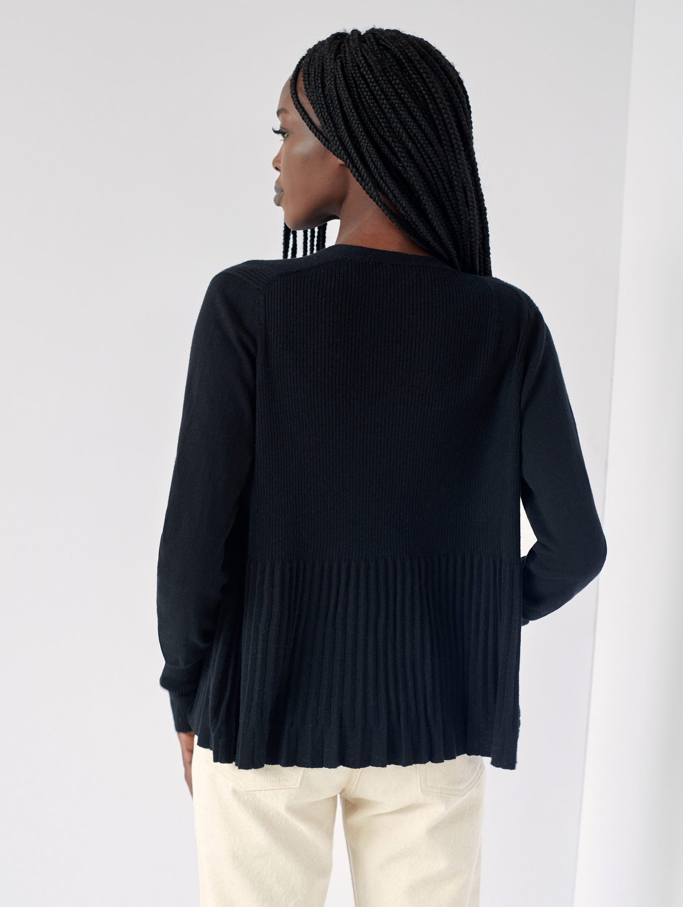 Cotton Pleated Open Cardigan