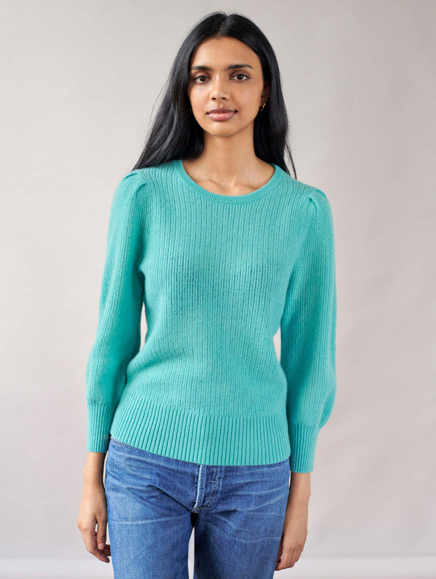 Cashmere Mini Cable Puff Sleeve Crewneck