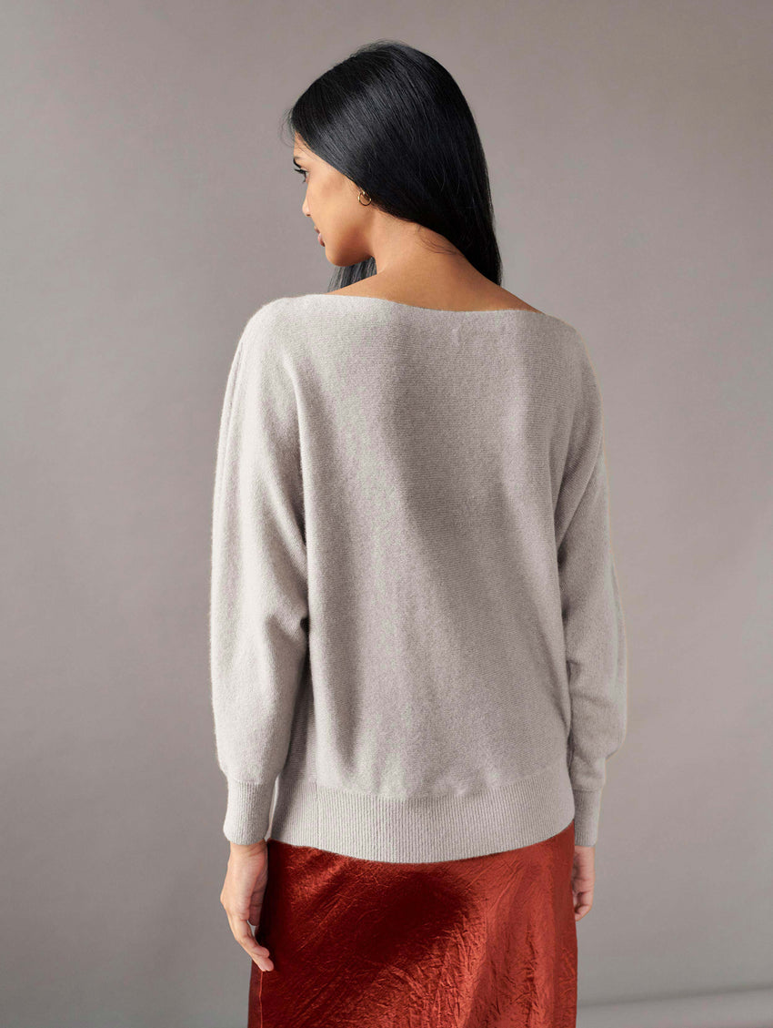 Cashmere Off Shoulder Crewneck